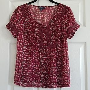 American Eagle Burgundy Floral Top